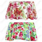 NEW LADIES FLORAL PRINT OFF SHOULDER FRILL TOP WOMEN BODYCON BARDOT SHORT TOPS