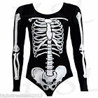 Women's Skeleton Halloween Print Bodysuit, Leggings, Tunic Dress Skull SM & ML