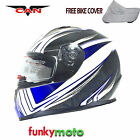 VCAN V158 MOTORBIKE HELMET WIND BLUE FULL FACE ACU GOLD RACING SCOOTER CYCLE ECE