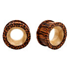 PAIR EXOTIC Natural WOOD Organic Ear Tunnels Dbl Flared Flesh Rare Unique