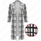 NEW LADIES MONO CHECK BOYFRIEND COAT WOMEN DUSTER JACKET PONTE LOOK LONG BLAZER