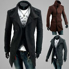 Men's Slim Fit Double Breasted Strap Trench Casual Coat Long Jacket Overcoat-AJR
