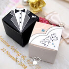 Square Bride & Groom Tuxedo Dress Wedding Party Favour Gift Candy Box Decoration