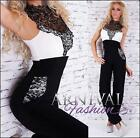 NEW padded european designer LACE OVERALL black FORMAL FASHION JUMPSUIT sz S M L