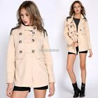 Women Double-breasted Woolen Trench Coat Overcoat Short Jacket Parka Outwear N98