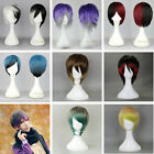 Fashion Multi-colored Straight Cosplay Wig Heatresistant Short Full Hair Wigs