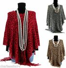 CharlesElie94 BENEDICTE Women's Leopard Print Winter Knitted Poncho Cape US 6-16