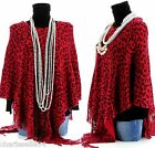 CharlesElie94 BENEDICTE Women's Leopard Print Red Knitted Poncho Cape UK 8-18