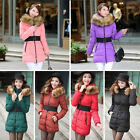 UK seller Womens Ladies Winter  Fur Collar Long Down Jacket Coat P+ Hood Belt