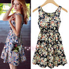 Elegant Womens Sleeveless Chiffon Floral Cocktail Evening Party Short Mini Dress