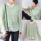 Fashion Women Round Neck Hollow Knitted Pullover Jumper Loose Sweater Knitwear