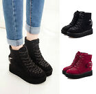 Winter Women's Flat High Platform Lace Up Knight Ankle Boots Casual Shoes T191