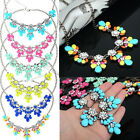Women Crystal Flower Necklace Choker Bib Statement Chunky Collar Chain Gift
