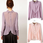 Fashion Womens Lapel Collar Sheer Lace Chiffon Long Sleeve Shirt Tops Blouses