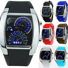 Mens RPM Turbo Blue Flash LED Sports Car Meter Dial Wrist Watch Wristwatch Clock