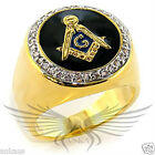 Men's Masonic Freemason Ring Gold Plated AAA CZ Cubic Zircon Accented 8X029