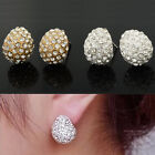 HOT Fashion Sweet Attractive Full Rhinestone Crystal Silver Color Stud Earrings