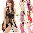Lace Sheer Sexy Lingerie Halter Neck Dress BabyDoll Nightgown Nightwear G String