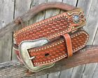 COWBOY PRAYER~ CROSS ~Brown Leather ~MAN'S WESTERN BELT~ N24854 Silver NOCONA 14