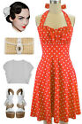 50s Inspired ORANGE with White POLKA DOTS Pinup Betty HALTER TOP Sun Dress