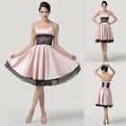 Womens Lace Satin Formal Homecoming Cocktail  Ball Gown Evening Prom Party Dress