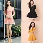 Autumn Elegant Women Round Collar Long Sleeve Lace Patchwork Pleated Dress B82