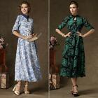 Elegant Floral Lady Decent Europe Flexible Waist Oversized Collar Long Dress KZ