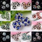 5x Silvery Rhinestone Crystal Hollow Ball Spacer Charms Loose Bead Findings 8mm