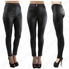 LADIES HIGH WAISTED BLACK PU TUBE JEANS LEATHER WET LOOK STRETCH FIT DISCO PANTS