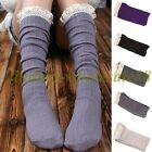 Crochet Warm Lace Trim Cotton Knit Footed Leg Boot Socks Knee High Stockings,Hot