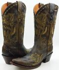 Lucchese M5700 Womens Olive Brown Leather Western Cowboy Boots With Rose Stitch