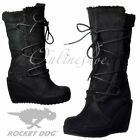 Womens Rocket Dog Bubbly Wide Calf Fleeced Warm Lace Up Mid Calf Boots Black