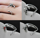 Rhinestone Cat Opening Ring Lady Lovely Gift Adjustable Multi-color Crystal