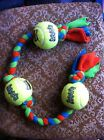 Fleece Tug Tuggy Dog Toy with 3 Tennis Balls Training Obedience Agility Flyball