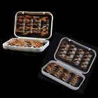 40pcs Dry Fly Flies Hooks Fishing Fly DRY HOOK Feather Baits With A Fish Box