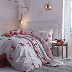 Catherine Lansfield Hounds Dogs Natural Taupe Red Duvet Quilt Cover Bedding Set