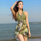 Cheap Lady Halter Tankini Sexy Beach Swimdress Swimwear Bathing Monokini Funny