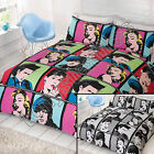 HOLLYWOOD ICONS REVERSIBLE QUILT DUVET COVER BEDDING SET BLACK WHITE RED PINK