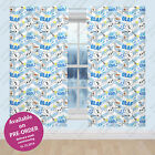 Disney Frozen Olaf Snowman White Blue Kids Childrens Bedroom Ready Made Curtains