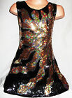 GIRLS 60s BLACK GOLD FIRE FLAME PATTERN SEQUIN EVENING PARTY DRESS