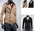 Practical and Affordable Mens Slim Fit Double-breasted Trench Short Coat Jacket