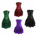 Goth Retro Lace up Boned Corset Bustier Skirt Fancy Dress Halloween Costume New