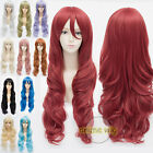 80cm Long 15 Colors Curly Women Girl Anime Cosplay Wavy Hair Wig + Cap Halloween