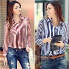 Fashion Womens Sexy Striped Long Sleeve OL Bussiness Casual Top Blouse Shirts