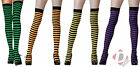 Ladies Halloween Stripy Black Stockings Fancy Dress Costume One Size 4 Colours