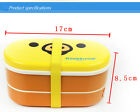 2 Colors Relax Bear Microwave  Lunch Box With Free Chopsticks 300-500ml,Two-Tier