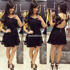Sexy Women Lace Crochet Clubwear Bandage Evening Party Cocktail Black Mini Dress