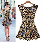 Sexy Women Leopard Print bodycon grain Dress Clubwear Nightclub Party Casual AU
