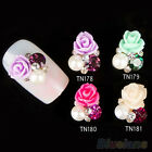 10x Womens 3D Rose Nail Art Stickers Studs Shiny Metallic Crystal Nail Jewelry