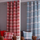 Catherine Lansfield Twill Check Checked Lined 66 x 72 Ring Top Eyelet Curtains